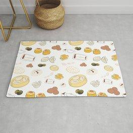 Dim Sum Pattern on White Background Rug