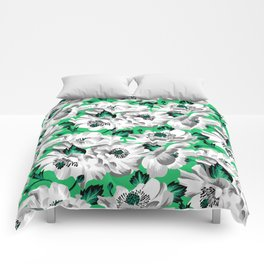 Mount Cook Lily - Green/White Comforters