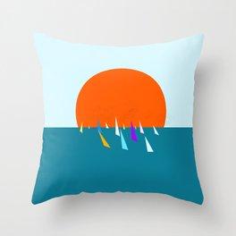 Minimal regatta in the sun Throw Pillow