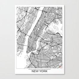 New York City Neutral Map Art Print Canvas Print