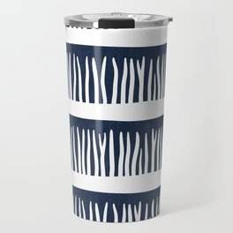 Abstract Blades of Grass in Navy Blue Travel Mug