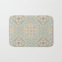 Gypsy Floral in Soft Neutrals, Grey & Yellow on Sage Bath Mat