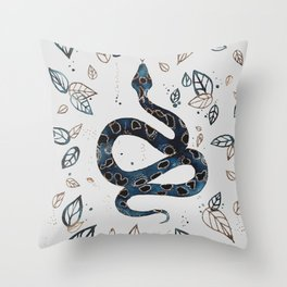 'Sea Serpent' snake and tropical illustration by Kristen Baker Throw Pillow