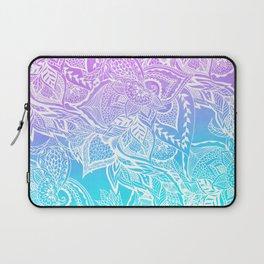 Modern purple turquoise mermaid watercolor floral white boho hand drawn pattern Laptop Sleeve