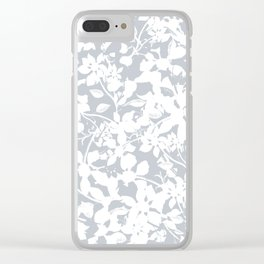 White and Grey Botanical Silhouette Pattern - Broken but Flourishing Clear iPhone Case