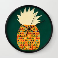 pineapple Wall Clocks featuring Pineapple by Picomodi