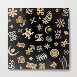 African Adinkra Symbols Metal Print