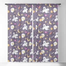 Happy halloween ghosts, moon , skulls and sweets pattern Sheer Curtain