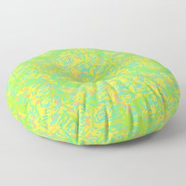 90's Neon Abstract Turtle Shells in Fluorescent Yellow Floor Pillow