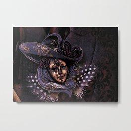 Venetian Feather Mask Metal Print