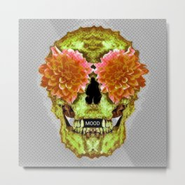 Skull Face Mood Metal Print