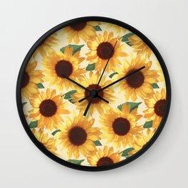 Happy Yellow Sunflowers Wall Clock