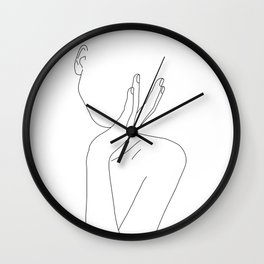 Woman's body line drawing illustration - Darla Wall Clock