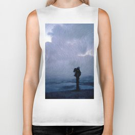 Silhouette in the fog Biker Tank