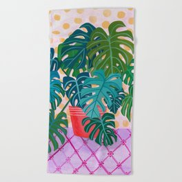 Split Leaf Philodendron Houseplant Painting Beach Towel