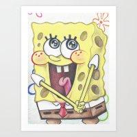spongebob Art Prints featuring Spongebob by infiniteartistics