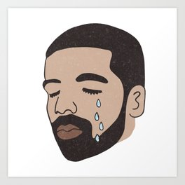 drake crying Art Print