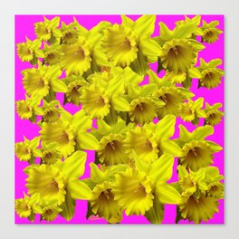 YELLOW SPRING DAFFODILS ON  VIOLET PURPLE ART Canvas Print