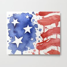 American Flag Watercolor Abstract Stars and Stripes Metal Print