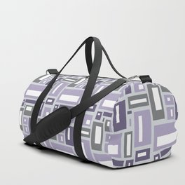 Simple Geometric Pattern in Purple and Gray Duffle Bag