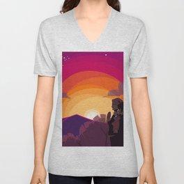 HQ!!: Sunset Walk Unisex V-Neck