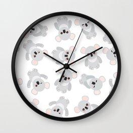Seamless pattern - Funny cute koala on white background Wall Clock