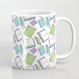 Doodle Books - Pattern in Green, Purple and Blue on a white background Coffee Mug