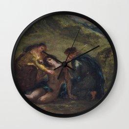 St. Sebastian with St. Irene and Attendant - Eugene Delacroix Wall Clock