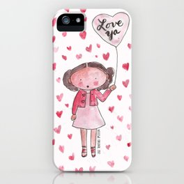 Love Ya: Watercolor with a Lot of Hearts iPhone Case