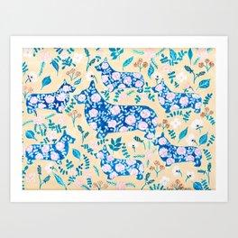 Floral Corgi Watercolor Gouache Watercolor Painting Art Print