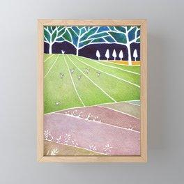 Fox on the meadow Framed Mini Art Print