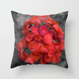 Red Geranium Tears Throw Pillow