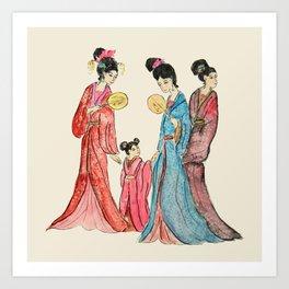 Ancient Chinese ladies painting Art Print