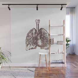 Fill Your Lungs. Vintage Sepia Print Illustration Wall Mural