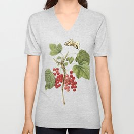 Botanical Print, Red Currant, Ribes Rubrum Unisex V-Neck