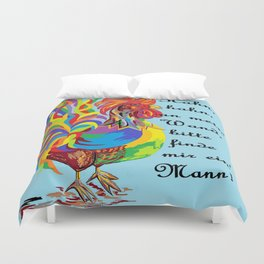 German Folklore Roosters and Husbands auf Deutsch Duvet Cover