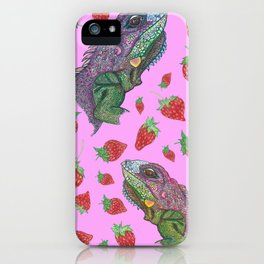 Iguana kisses iPhone Case