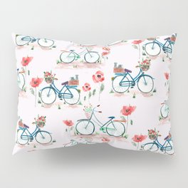 watercolor vintage bike, floral bicycle, summer bike ride Pillow Sham