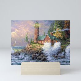 Lighthouse And Foaming Waves Smashing Against Cliff Ultra HD Mini Art Print