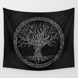 Tree of life -Yggdrasil -grayscale Wall Tapestry