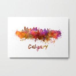 Calgary skyline in watercolor Metal Print
