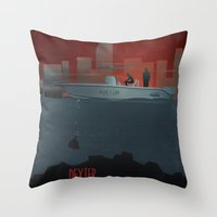 dexter Throw Pillows featuring DEXTER by ketizoloto