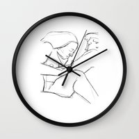 erotic Wall Clocks featuring Erotic Lines Two by Holden Matarazzo