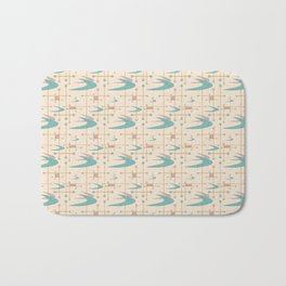 Mid Century Boomerangs in textured Blush Pink and Blue Bath Mat