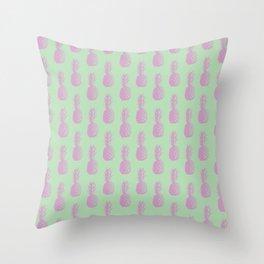 Pineapples - Light Green & Pink #218 Throw Pillow