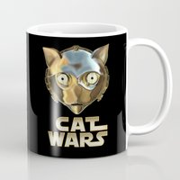 c3po Mugs featuring Cat Wars C3PO by Detullio Pasquale
