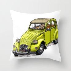 Yellow 2CV Throw Pillow