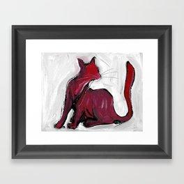 Red cat Framed Art Print
