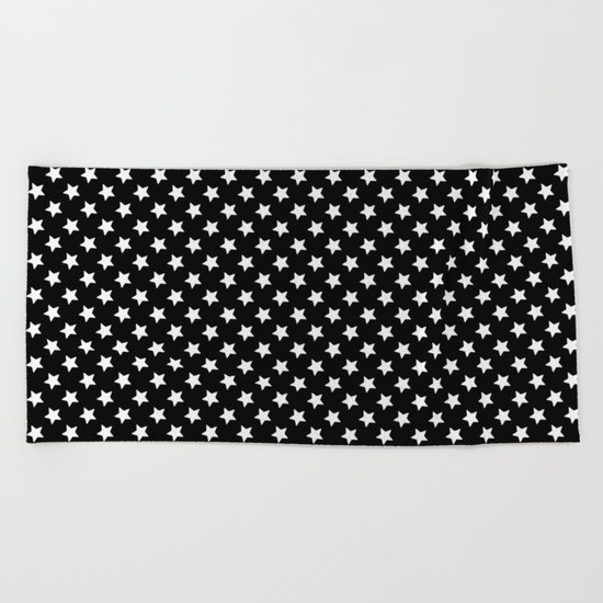 White Stars on Black Beach Towel