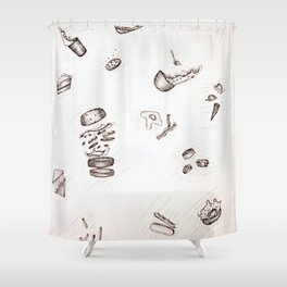 Falling Food Shower Curtain